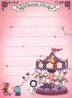 Use for Thank You Notes | beige Sentimental Circus Note Pad animal carousel 3