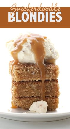 Keto Snickerdoodle Blondies with vanilla ice cream and caramel sauce - totally sugar free and absolutely delicious! Keto Snickerdoodle Blondies with vanilla ice cream and caramel sauce - totally sugar free and absolutely delicious! Keto Desserts, Keto Friendly Desserts, Sugar Free Desserts, Dessert Recipes, Dessert Ideas, Holiday Desserts, Keto Snacks, Keto Desert Recipes, Dessert Mousse