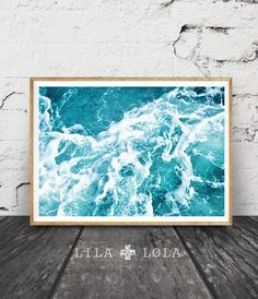 Ocean Water Print, Beach Decor Wall Art, Waves, Printable Large Poster, Digital Download, Blue, Turquoise, Modern Minimalist, Abstract