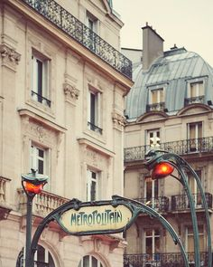 Paris Metro Sign, Paris Photography, Art Nouveau, Vintage Guimard, Beige, Green, Pastel - Metropolitain