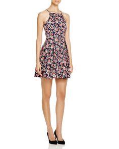 AQUA Floral Fit and Flare Dress