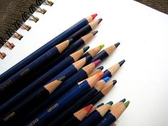 Derwent Inktense Watersoluble Ink Pencils- Set of 12 Colors - These blend with water.