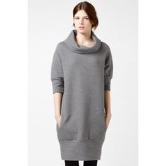 Lacoste elbow sleeve quilted sweatshirt dress. Grey 3/4 sleeve quilted sweatshirt dress. Looks great with leggings and boots. Size 40 (L) Lacoste Dresses