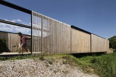 Industrial modern Sawmill House is built from recycled concrete blocks Timber Slats, Timber Cladding, Australian Architecture, Australian Homes, Sustainable Architecture, Residential Architecture, Victorian Architecture, Architecture Details, Architecture Awards