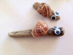 Driftwood snails, snail shell craft ideas, snail, snail craft kids, homemade snail, how to make a snail - Driftwood Sea Snails