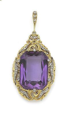 Estate. Amethyst and Diamond Pendant.