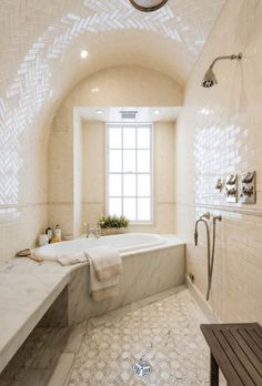 Stunning Celebrity Homes The Manhattan home of Uma Thurman features a Turkish steam bath and a sleek marble slab bench.The Manhattan home of Uma Thurman features a Turkish steam bath and a sleek marble slab bench. Uma Thurman, Architectural Digest, Inside Celebrity Homes, Celebrity Houses, Celebrity Photos, New York Homes, New England Homes, Bad Inspiration, Bathroom Inspiration