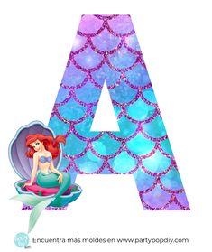 Mermaid Theme Birthday, Little Mermaid Birthday, Little Mermaid Parties, Ariel The Little Mermaid, Simple Birthday Decorations, Mermaid Party Decorations, Alfabeto Disney, Theme Mickey, Disney Alphabet