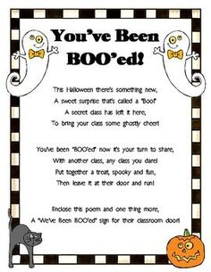 You've Been BOO'ed!  This is a fun FREE HALLOWEEN surprise that is left outside someone's door without them knowing who left it.  Use this to bring joy to the teachers, students, and staff at your school!:
