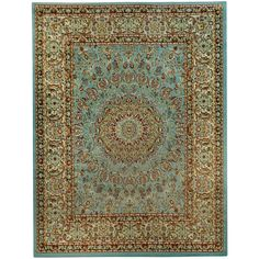 Pasha Collection Medallion Traditional Ocean Blue Area Rug