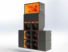 Company created by ex-nasa engineer, stack is maybe 11 or 12 feet tall and 7 wide yet provides sound usually only achieved by systems twice its size, only better quality. Pro Audio Speakers, High End Speakers, Horn Speakers, Subwoofer Box Design, Speaker Box Design, Subwoofer Speaker, Speaker Plans, Speaker System, Audio System