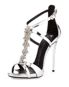 A silver version - only $1,750!!!  S0AF1 Giuseppe Zanotti Jewel-Embellished Metallic Evening Sandal, Silver
