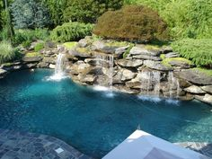 Artistic, Creative, Tropical, Natural and Exotic Custom Water Features, Swimming… Swimming Pool Landscaping, Swimming Pool Designs, Outdoor Swimming Pool, Landscaping With Rocks, Backyard Landscaping, Backyard Ideas, Cerca Natural, Natural Waterfalls, Pool Water Features