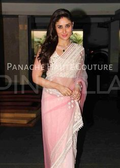 Sister-in-law Kareena Kapoor Khan arrived for Soha Ali Khan's wedding at their Khar residence on Sunday Kareena wore a light pink Manish Malhotra saree for the occasion. Side swept h Indian Dresses, Indian Outfits, Manish Malhotra Saree, Sabyasachi Sarees, Soha Ali Khan, Bridal Lehenga Choli, Lehenga Skirt, Bollywood Fashion, Bollywood Girls
