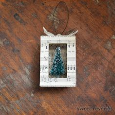 Christmas Tree Shadow Box Ornament  Shabby by asweetreverie, $10.00