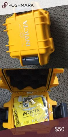 Empty Men's Watch case. Invicta. Yellow watch box . Watch not included. Invicta Accessories Watches