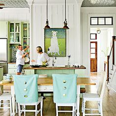 Love the pops of color with the built-in and island and how they tie in the with the oversized piece of art and chair covers. Fun and Functional Kitchen - 100 Comfy Cottage Rooms - Coastal Living Green Dining Room, Dining Room Colors, Home, Dining Room Design, Country Kitchen Farmhouse, Eclectic Kitchen, Cottage Room, Cottage Decor, Room Inspiration