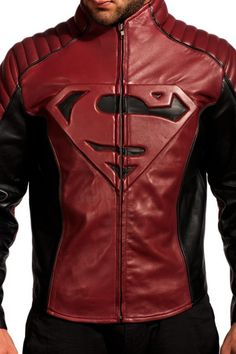 Superman Smallville Maroon Black Leather Jacket