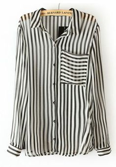 Black White Vertical Stripe Long Sleeve Chiffon Blouse #SheInside