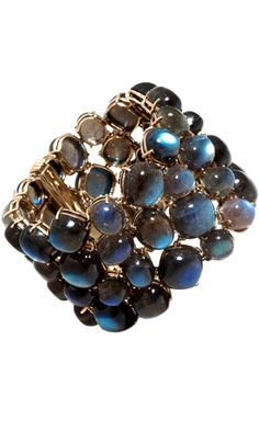 Sidney Garber Labradorite Madagascar Cuff  18k yellow gold cuff bracelet set with 58 labradorite cabochons weighing 340.8 cttw.