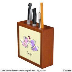 Cute kawaii foxes cartoon in pink and purple girls desk organizer