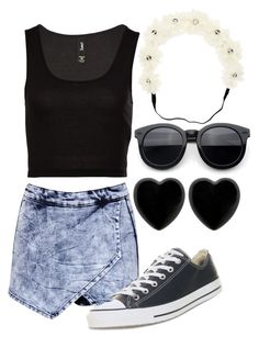 """Untitled #1162"" by outfits-onedirection ❤ liked on Polyvore featuring Boohoo, Converse, Dollydagger, 2b bebe, women's clothing, women, female, woman, misses and juniors"