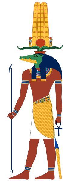 """Sobek est le fils de la déesse aquatique Neith & des dieux jumeaux Senwy """"les deux frères"""". Maître des eaux et de la fertilité, il est le dieu qui irrigue les champs, adoré partout dans le delta du Nil, le Fayoum et à Kôm Ombo. Sobek tient dans ses mains la croix de vie Ânkh & le sceptre royal Ouas, et porte la couronne Hénou composée de cornes plates de bélier, de deux plumes d'autruche posées symétriquement, d'un disque solaire et de deux uræus - Dessin vectoriel de Jeff Dahl."""