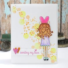 Sweet card by Jingle using brand new stamps by Simon Says Stamp from the Falling For You Release