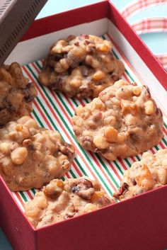 Moist little nuggets of fruit bound with the merest bit of spice-scented batter and baked to chewy perfection. Fruit Cake Cookies Recipe, Cookie Desserts, Cookie Recipes, Dessert Recipes, Fruit Cakes, Yummy Cookies, Christmas Desserts, Christmas Baking, Christmas Cookies