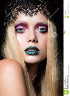 Image result for blue lips makeup