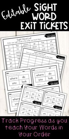 Sight Word Exit Tickets that you can EDIT! Included are 60 kinder sight words. You can edit the list and add up to 120 of your own sight words. Sight words will auto-generate into 4-word and 6-word exit tickets. Track progress of the words you teach in