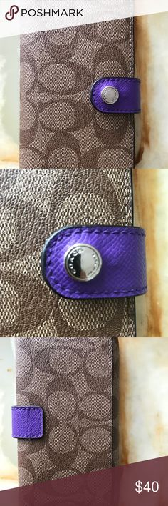 Coach Wallet / Phone Wallet Authentic EUC coach phone wallet (fits iPhone 5/6/7/8 regular not plus) in coated canvas brown / tan with purple interior. Wallet is beautiful - I used it as my main wallet with bills folded in the phone portion as I have a 7plus - this will not fit. Coach Bags Wallets