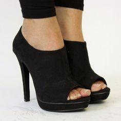 Peep Toe Boots Womens Heels Ladies Ankle Boots