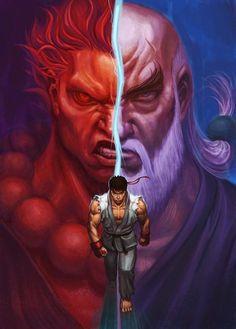 Ryu, Akuma, and Gouken.