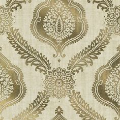 Zoraya Gold Damask  Exalted with a luxurious foil effect, this modern designer wallpaper in a glistening gold metallic, brings an elegance to walls with a dazzling global damask print.