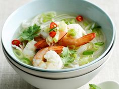 Fresh, spicy and zesty, this Asian spiced prawn noodle soup is beautiful served with a squeeze of fresh lime and a sprinkle of green onions.
