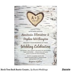 """Birch Tree Bark Rustic Country Wedding Invitations Birch Tree Bark Rustic Country Wedding Invitations - features a white birch bark background with shades of brown, gray, black and other neutral colors. The design also features a realistic carved heart on the birch bark that you can """"carve"""" your initials and event date into and modern typography fonts, for added flair, are used for the rest of the invite wording.#weddingideas  #weddinginvitations  #countrywedding #rusticwedding…"""