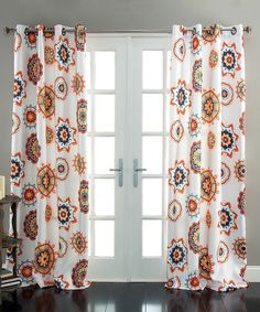 Another great find on #zulily! White & Tangerine Ashbury Curtain Panel - Set of Two #zulilyfinds