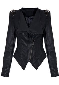 Studs Shoulder PU Blazer