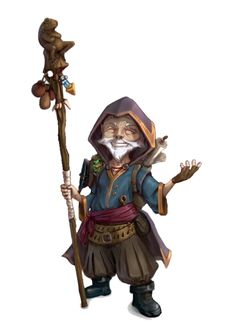 Male Gnome Sorcerer with Staff - Pathfinder PFRPG DND D&D 3.5 5th ed d20 fantasy