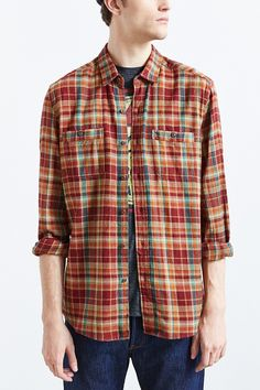 Stapleford Frisco Plaid Flannel Button-Down Shirt - Urban Outfitters