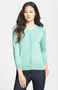 Halogen® Three Quarter Sleeve Cardigan (Regular & Petite) | Nordstrom | $46 | Love this color for spring