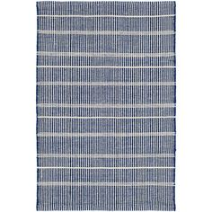 Dash and Albert's Bunny Williams collection, this delicately striped, navy indoor/outdoor rug was inspired by an antique rug sample from the designers own personal collection. Made of PET, a polyester fiber made from recycled plastic bottles. Navy And White Rug, Navy Rug, Indoor Outdoor Rugs, Outdoor Area Rugs, Outdoor Lounge, Outdoor Spaces, Dhurrie Rugs, Dash And Albert, Striped Rug