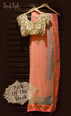 Peach Saree with contrast blouse !