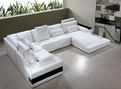 White Bonded Leather Sectional Sofa with Built-in Lights - modern - Sectional Sofas - New York - EuroLux Furniture $2,370