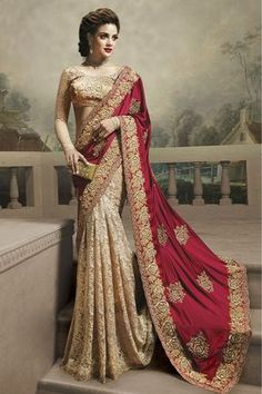 Magenta And Cream Colour Silk Georgette Fabric Party Wear Saree Comes with matching blouse. This Saree Is crafted with Thread Work This Saree Comes with Unstitched Blouse Which Can Be Stitched Up to s. Bollywood Designer Sarees, Bollywood Saree, Backless Wedding, Saree Wedding, Bridal Sarees, South Indian Bride, Indian Bridal, Muslim Wedding Dresses, Satin Saree