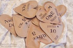 Birthday/Anniversary/Valentines/Anytime gift: Brown paper hearts sewn together stuffed full of surprises and sweet notes.   Who wouldn't want a list of Top Ten reasons why their awesome?!