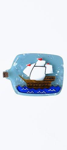 Erstwilder Impossible Voyage Resin Bottled Ship Brooch Pin