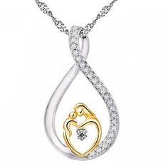 Mother and Child Love Gold Heart Pendant Necklace