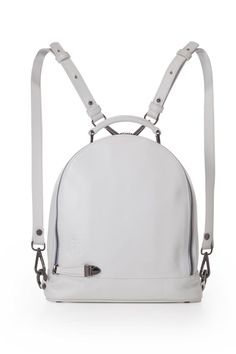 "Dare to wear white with this signature bag - the LBP (Little BackPack). Detach the shoulder strap from the back and side and attach it to the D rings on the handle to go from backpack to shoulder bag. Made of White calf leather. Store your cell phone in one of two inner patch pockets. Includes a zipped pocket in the back - for easy access and a safe feeling, lining is printed and made of silk. Comes with dust bag.    Measurements: Hight 12.2"" / 30cm. Width 11.4"" / 29cm. Depth 3"" / 7.5cm…"